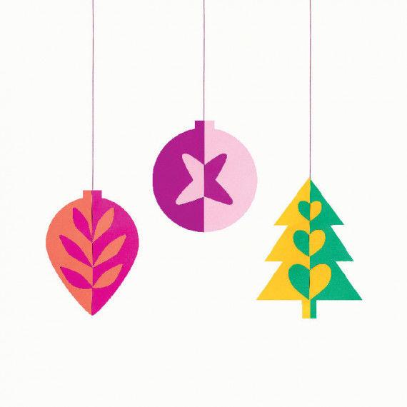 Weihnachtliche Anhänger - Zapfen, Weihnachtskugel und Tannenbaum mit Klappschnittmustern