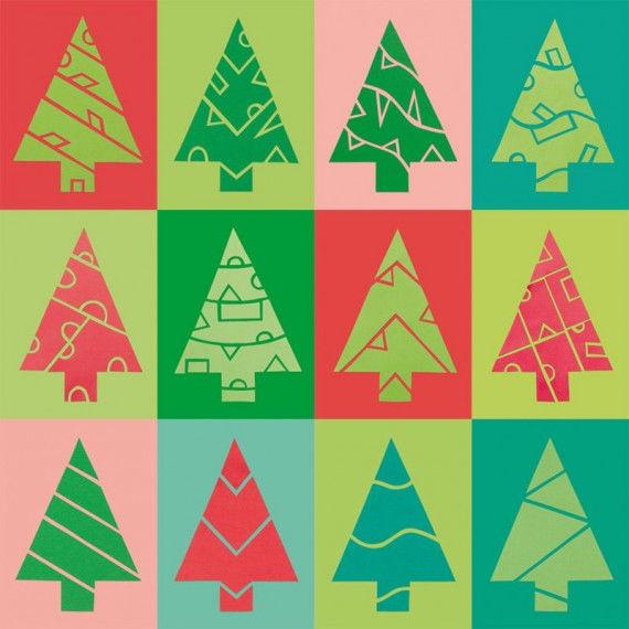 Vorlagen für Scherenschnitt-Tannenbäume mit 24 verschiedenen Mustern zum Ausschneiden und Aufkleben.