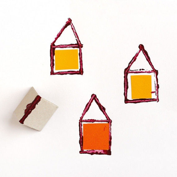 Kleine Häuser entstehen im Pappkanten-Druck - eine einfache Drucktechnik für Kindergarten und Schule