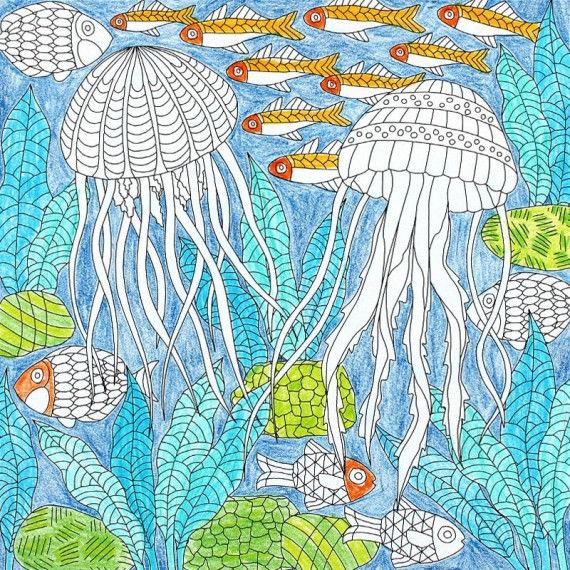 Ausmalbilder für Kinder mit Motiven aus der Meereswelt