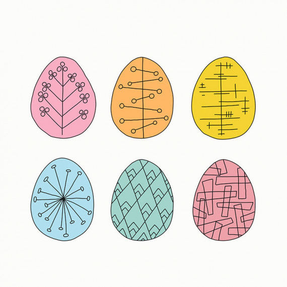 Bunte Ostereier mit Linienmustern