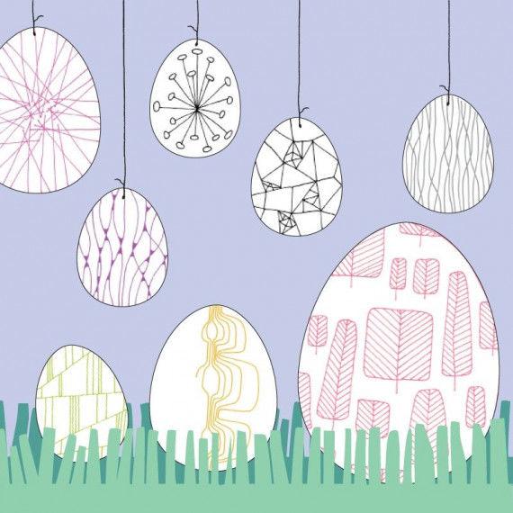 Linienmuster-Eier zum Nachzeichnen und Ausmalen