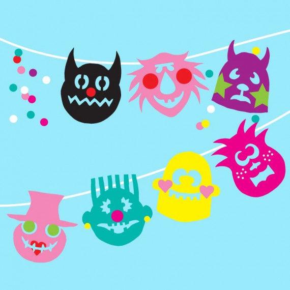 Bunte Gruselmonster-Girlande für Karneval