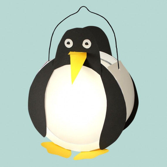 Die Trommellaterne als Pinguin-Laterne - eine von 7 Tier-Vorlagen