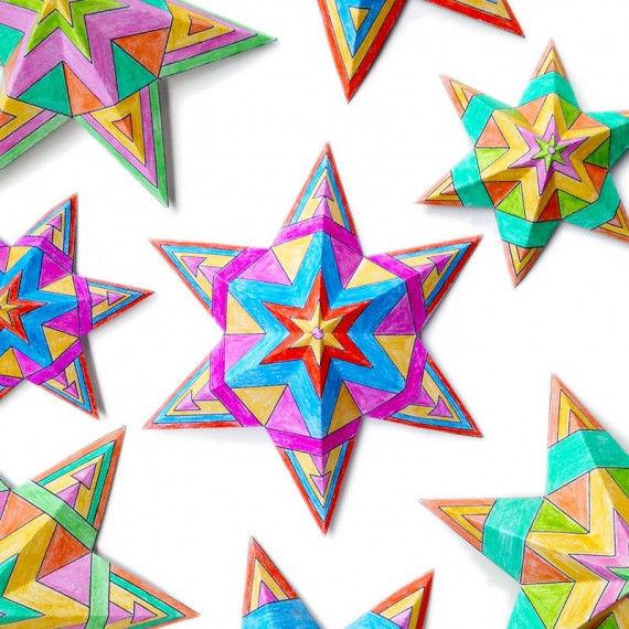 Penta-Sterne mit tollen Mustern zum Ausmalen