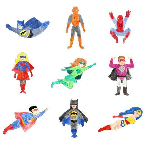 Übersicht der Mal-Collagen - Superhelden