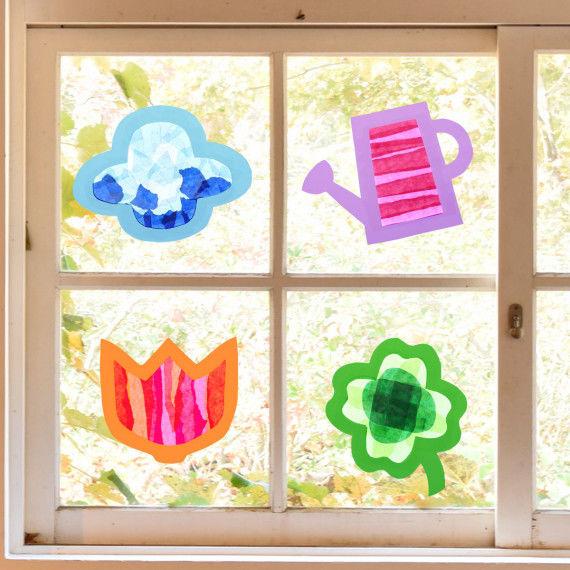 Sun-Catcher Frühling - Fensterbilder Bastelvorlagen