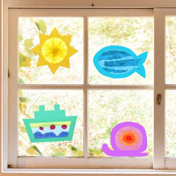 Sun Catcher Sommer im Fenster zum Basteln für Kinder