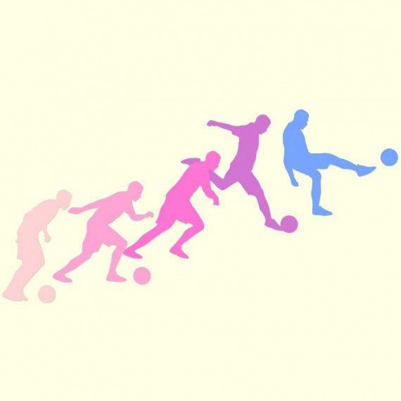 Fußball Collage aus 5 Silhouetten