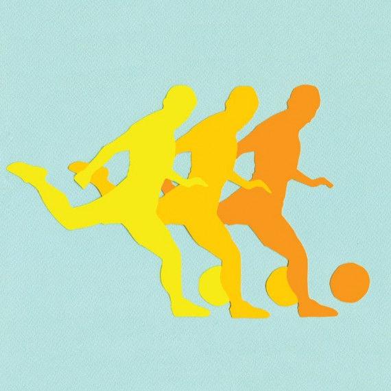 Papiercollage mit Fussballer-Motiv