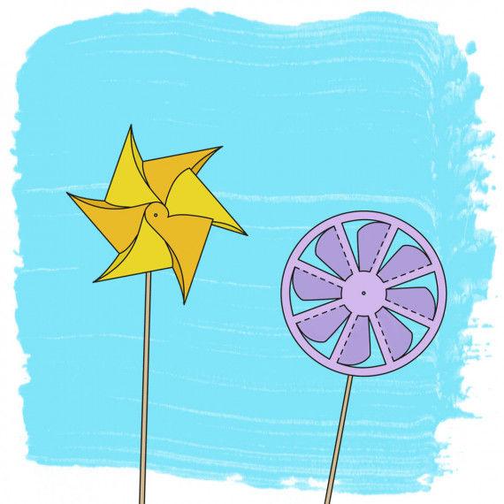 2 Bastelvorlagen für Windmühlen & Windräder