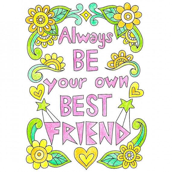"""Girl Power! Poster zum Ausmalen """"Always be your own best friend"""""""