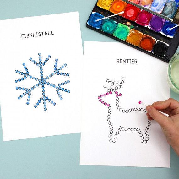 Punktmalerei Winter - Eiskristall und Rentier mit Wattestäbchen bedrucken