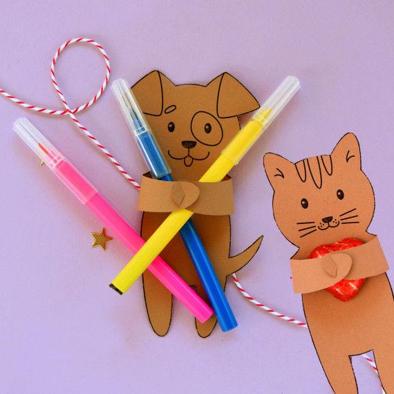 Bunte Geschenk-Tiere zum Ausschneiden für Kinder