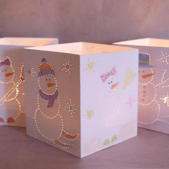 Schneemann-Leuchten - Bastelvorlagen für Kinder