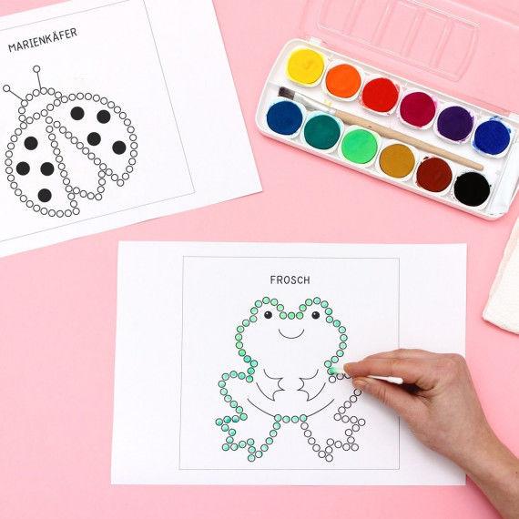 Frosch-Motiv für die Punktmalerei
