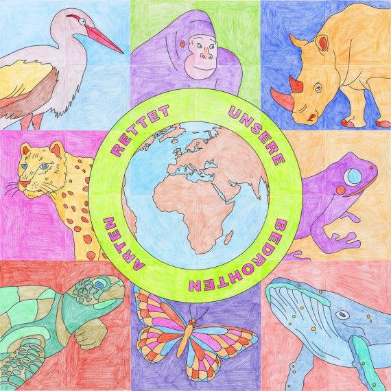 Poster zum Tag des Artenschutzes zum Ausmalen für Kinder