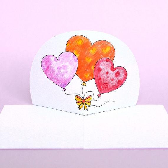 Pop-Up-Karte mit Herz-Ballons zum Muttertag basteln