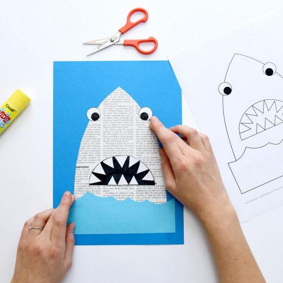 Hai aus Zeitungspapier mit Wackelaugen