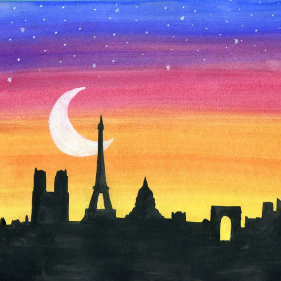 Collage mit Skyline-Silhouette von Paris