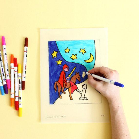 St. Martin - Pop-Art Malvorlagen für Kinder