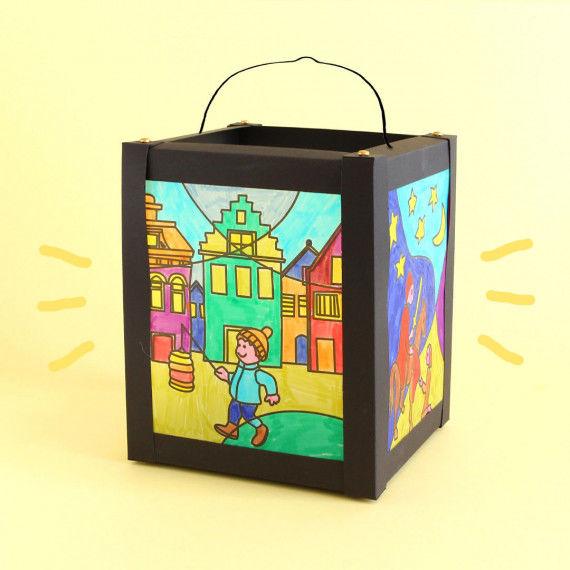 Pop-Art Vorlagen für die Karton-Laterne zu Sankt Martin