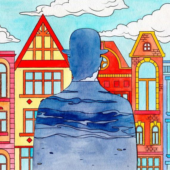 Collagen nach René Magritte - Mann mit Hut