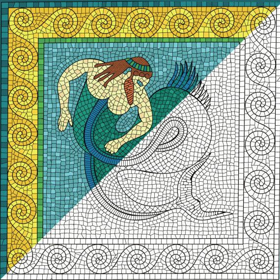 Griechische Sagenwelt - Mosaikbilder, Wandgemälde 35x35 cm PDF