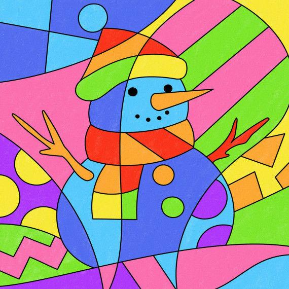 Pop-Art – Mathe: Schneemann
