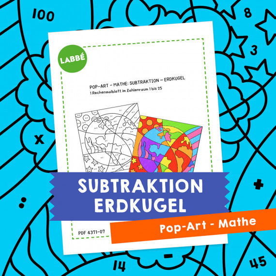 Homeschooling - Pop-Art – Mathe Subtraktion: Erdkugel