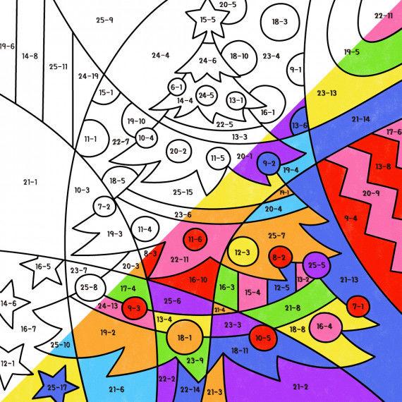 Pop-Art – Mathe: Weihnachtsbaummit Rechenaufgaben zum lösen und anmalen
