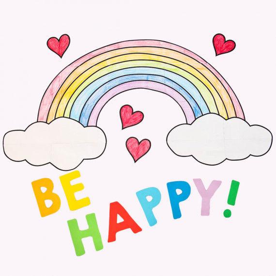 "Großes Regenbogen-Fensterbild mit Schriftzug ""Be Happy"""