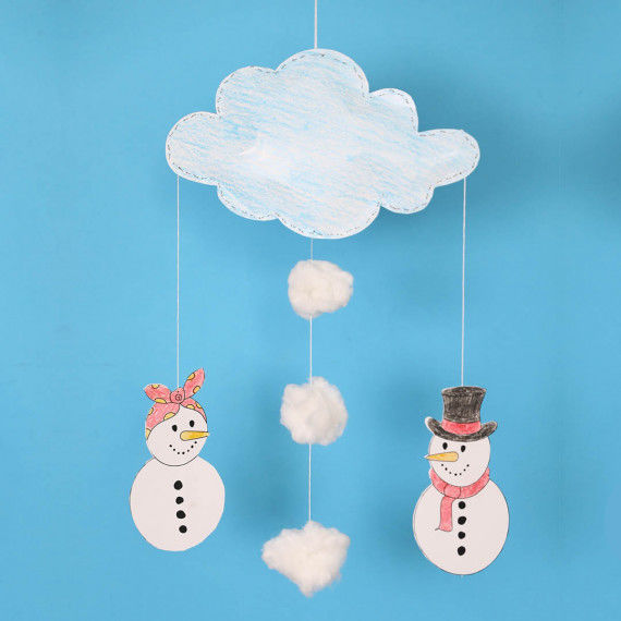 Schneefrau und Schneemann als Mobile