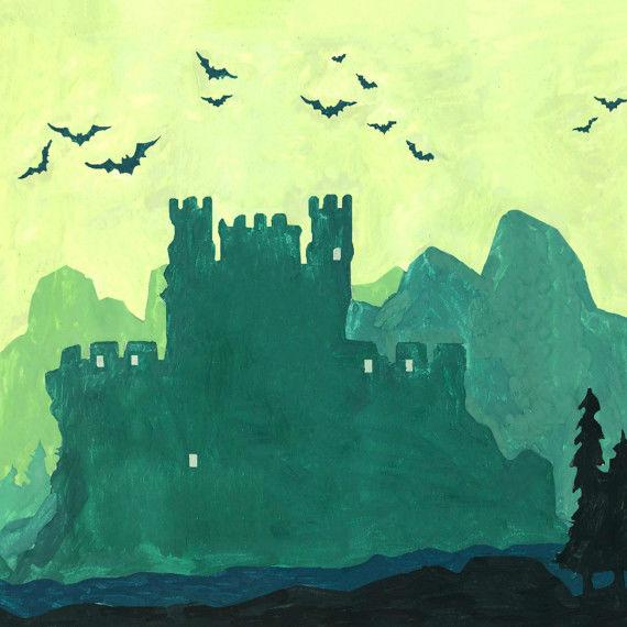 Unheimliche Burg mit Vogelschwarm