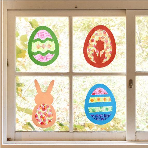 Sun Catcher Ostern im Fenster zum Basteln für Kinder