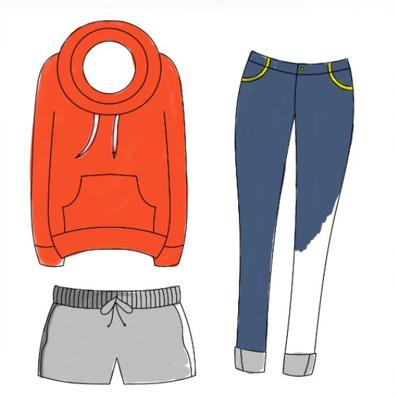 Ausgemalte Kleidungsstücke aus dem PDF Fashion & Kleiderdesign