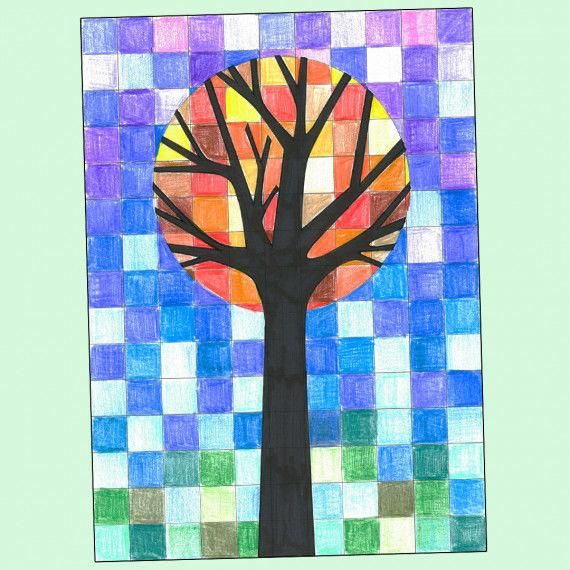 Raster-Baum - Malvorlagen zum Arbeiten mit kalten und warmen Farben