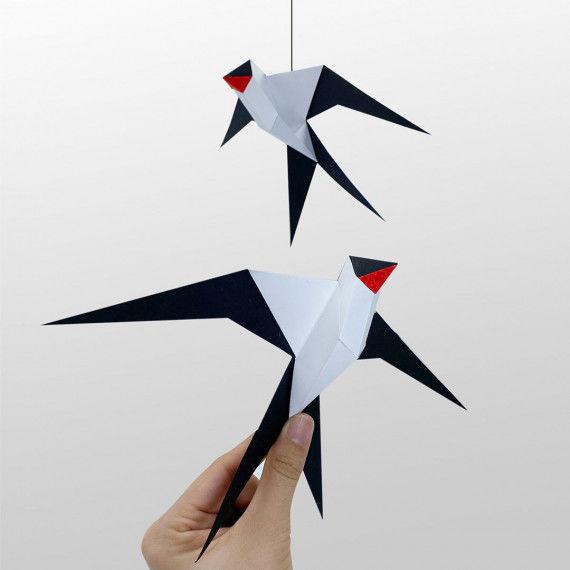 3D-Schwalben aus Papier als Mobile