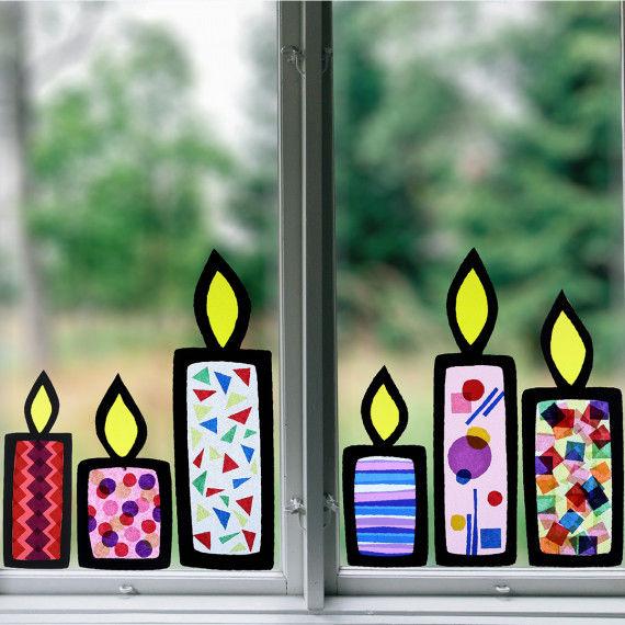 Fenster-Kerzen - Bastelvorlagen für weihnachtlichen Fensterschmuck