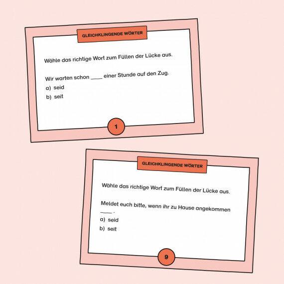 TASK-Karten zum Buchstabieren von gleichklingenden Wörtern