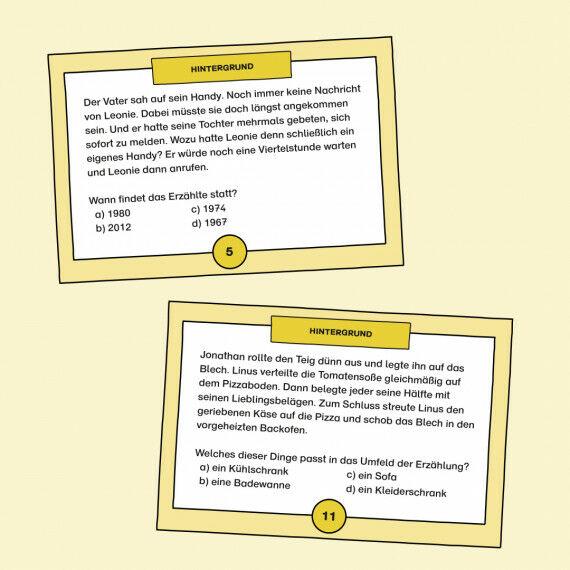 Aufgabenkarten mit Multiple-Choice-Fragen zum Hintergrund des Erzählten