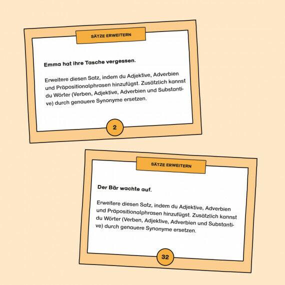 Aufgabenkarten zum Erweitern von Sätzen