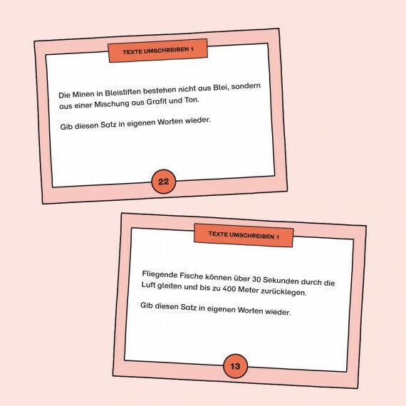 Aufgabenkarten zum Umschreiben von Sätzen