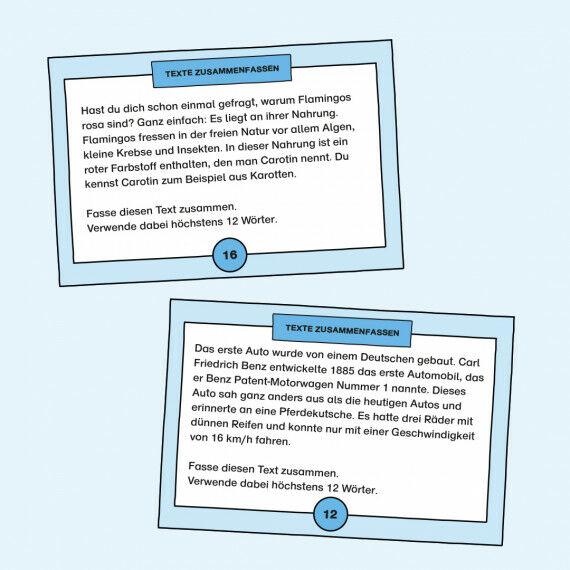 Aufgabenkarten zum Zusammenfassen von kurzen Texten