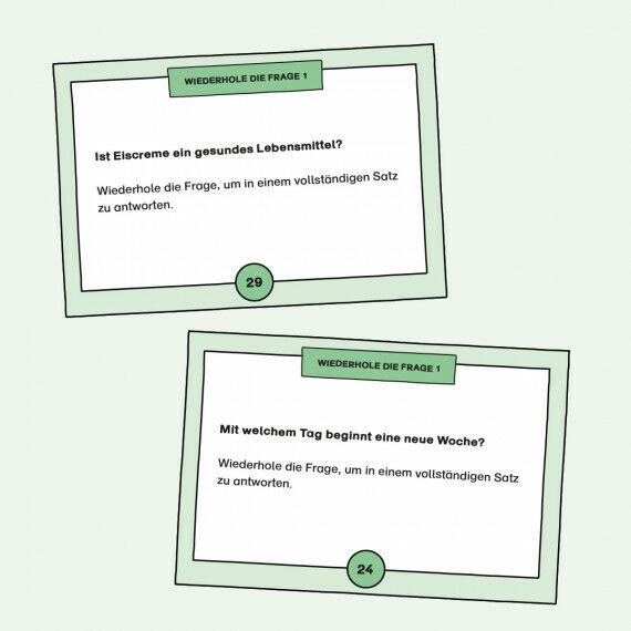Aufgabenkarten zum Formulieren von Antworten auf einfache Fragen