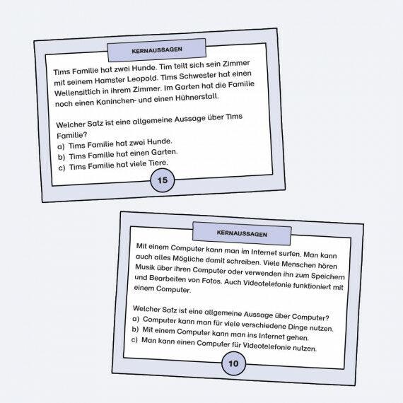 Aufgabenkarten zum Formulieren der Kernaussage von kurzen Texten
