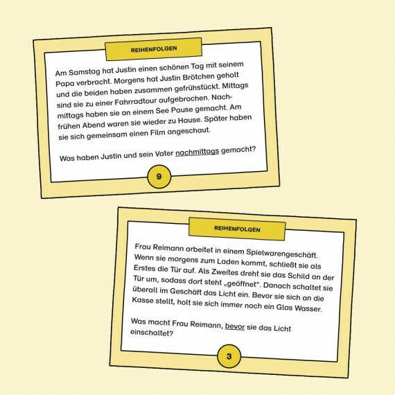 Aufgabenkarten mit Fragen zur Reihenfolge von Ereignissen und Tätigkeiten