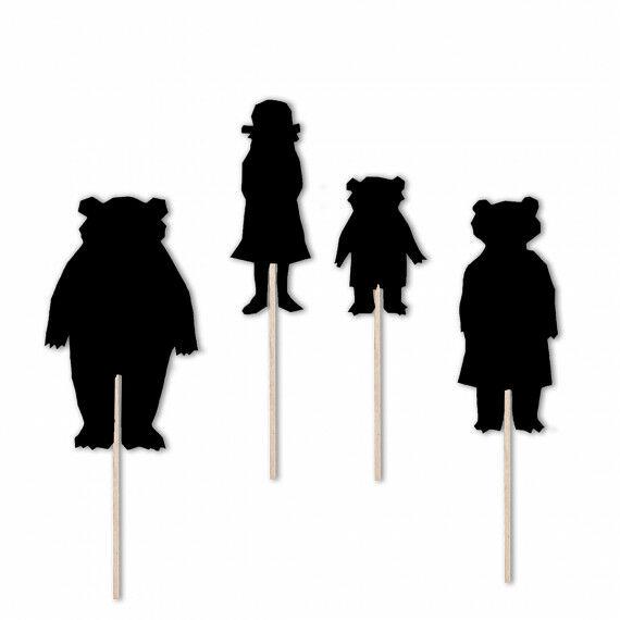 """Scherenschnittvorlagen für das Schattentheater """"Goldlöckchen und die drei Bären"""""""