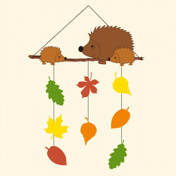 Herbst-Mobile mit Igeln und Herbst-Blättern