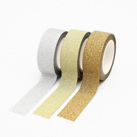 Washi Tape mit feinem Glitter in silber, hellgold und gold